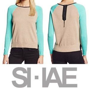 Shae Crew Neck Back Zip Sweater Leather Detailing